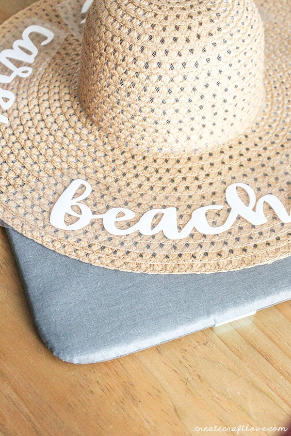 arrange text on diy beach hat