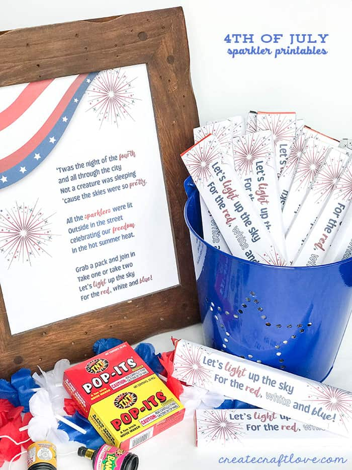 4th of July Sparkler Printables!!