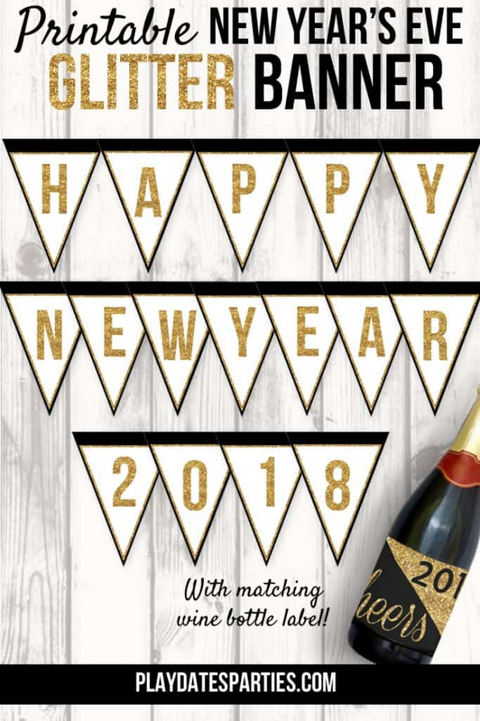 free nye glitter banner printable from playdates to parties