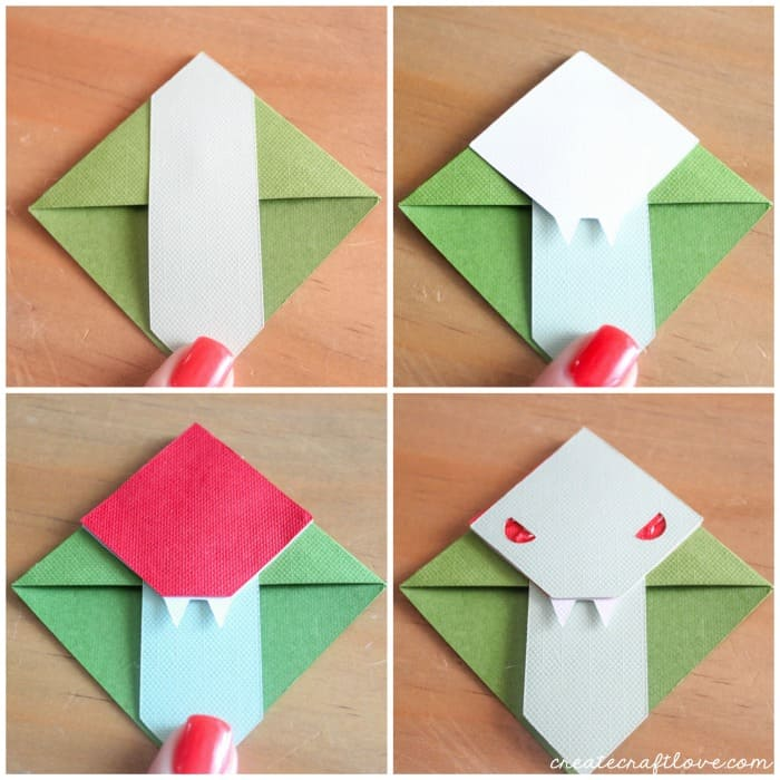 assembling paper animal bookmarks
