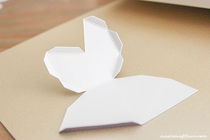 Fold towards scored lines to create 3D Paper Gems