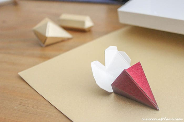 Hot glue 3D Paper Gem together