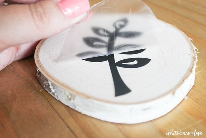 Apply image to your Faux Wood Burnt Coasters!