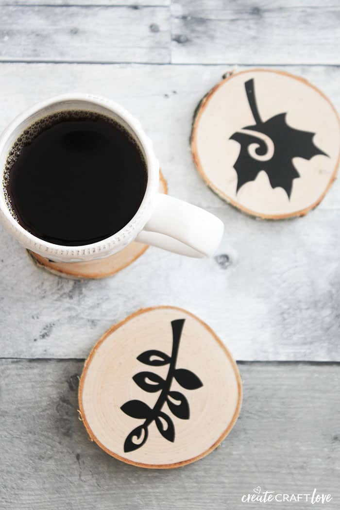 Easy Faux Wood Burnt Coasters for Fall!