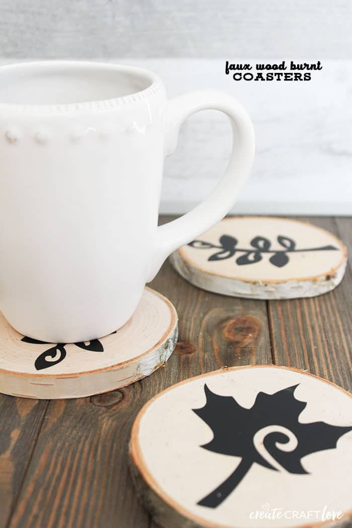 These Faux Wood Burnt Coasters are a great addition to your fall and winter decor!