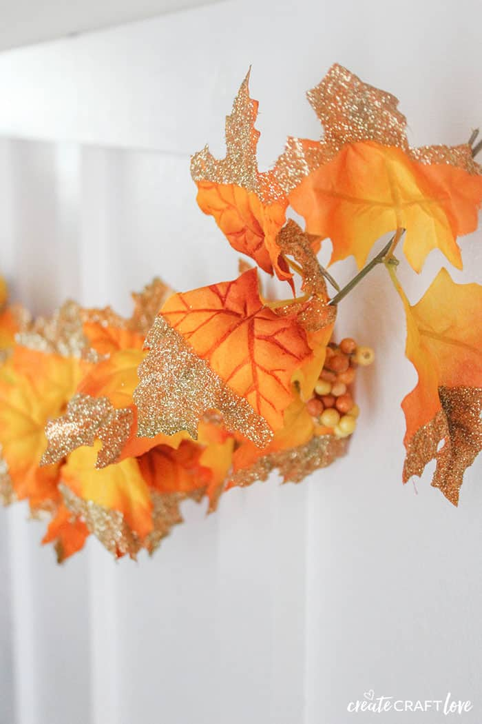 Glitter Dipped Leaf Garland for Fall