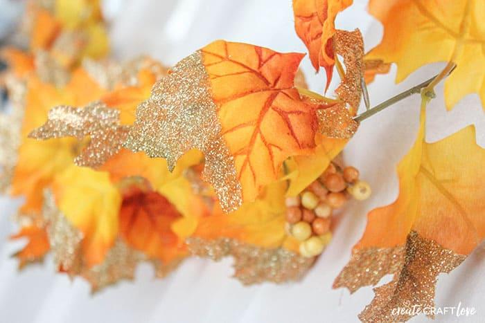 upclose glitter dipped leaf garland