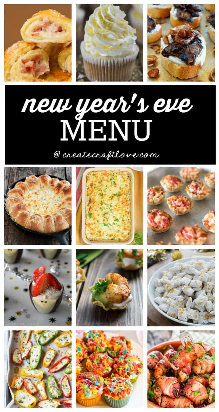 Plan ahead for your first night celebration with this amazing New Years Eve Menu! Easy bite sized appetizers and sweet desserts for the perfect evening!