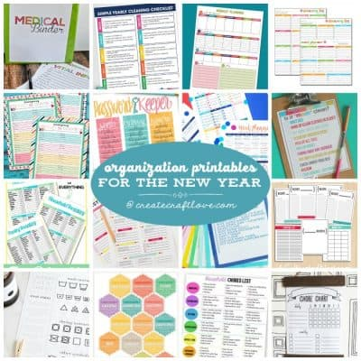 Organization Printables for the New Year