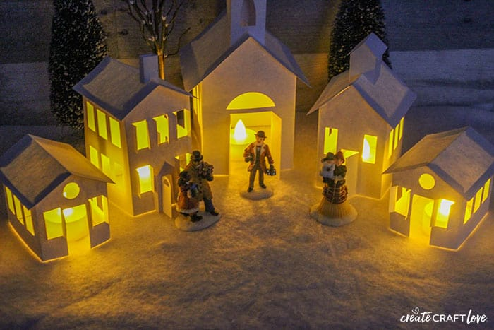 lit paper christmas village