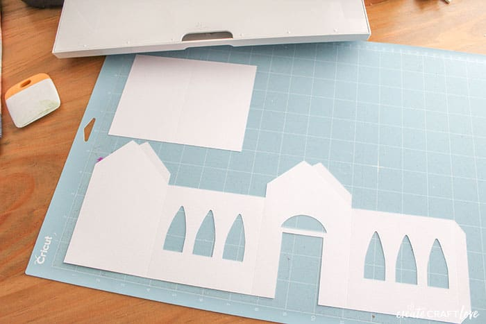 cutting paper christmas village