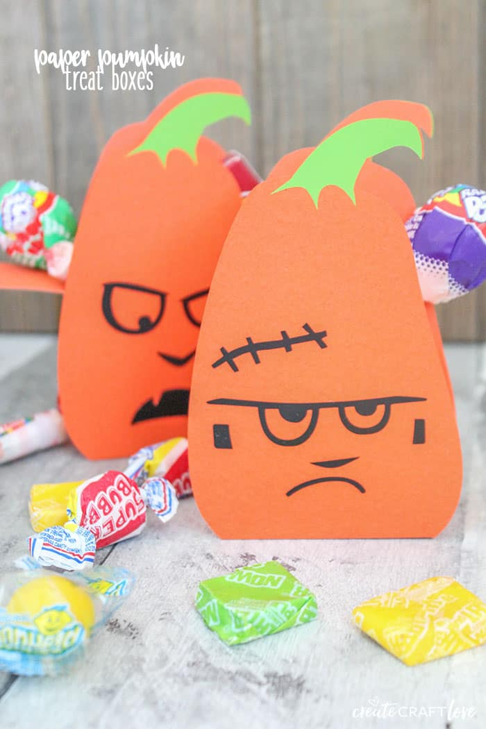 Pass out these adorable candy filled Paper Pumpkin Treat Boxes to your trick-or-treaters this year!