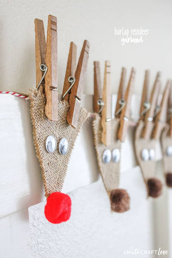 This Burlap Reindeer Garland, featuring Rudolf and the whole gang, will look adorable in your house this holiday season!