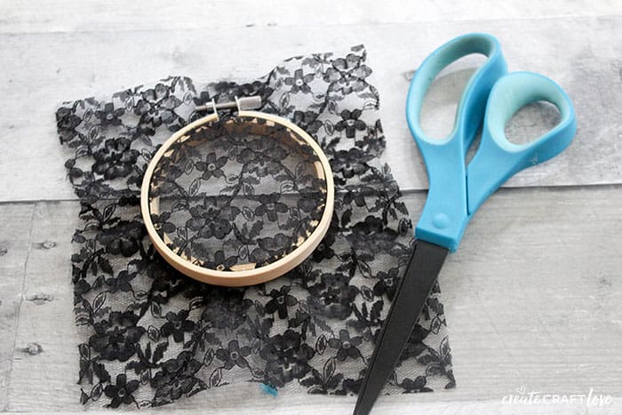 black lace for webbing of spider web embroidery hoop art
