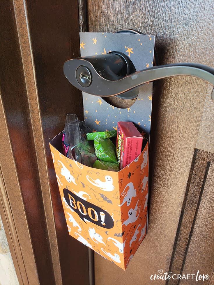 Fill Halloween Door Hanger with candy!