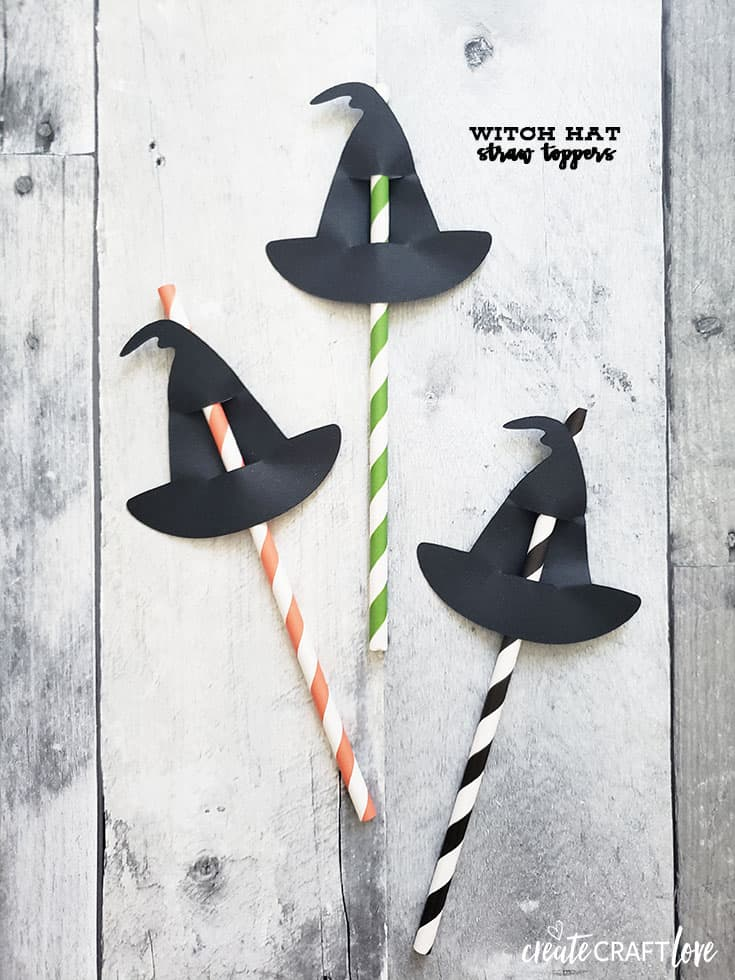 These Witch Hat Straw Toppers area fun way to add to your Halloween party decor!