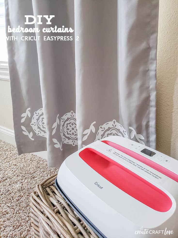 Create your own DIY Bedroom Curtains with Cricut EasyPress 2! #cricut #cricutmade #ad