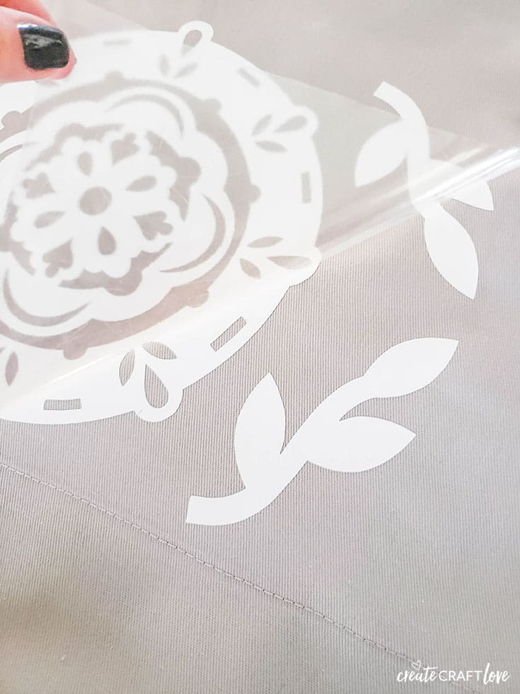 Peel away liner from design for DIY Bedroom Curtains