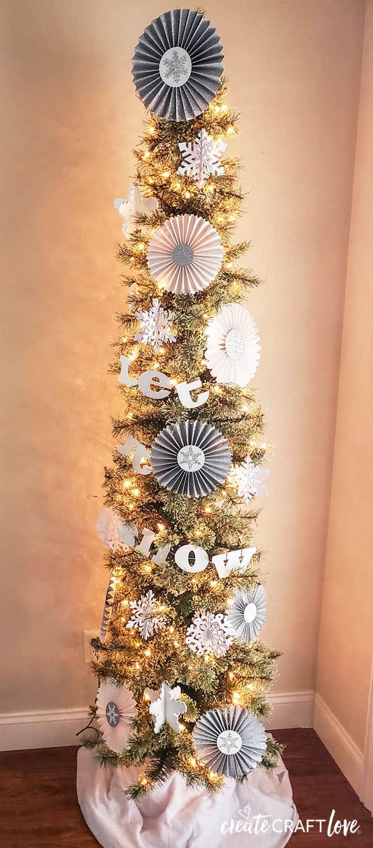 Let It Snow Christmas Tree with Cricut