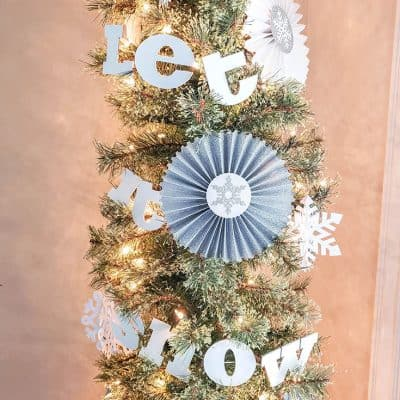 let it snow christmas tree with cricut upclose