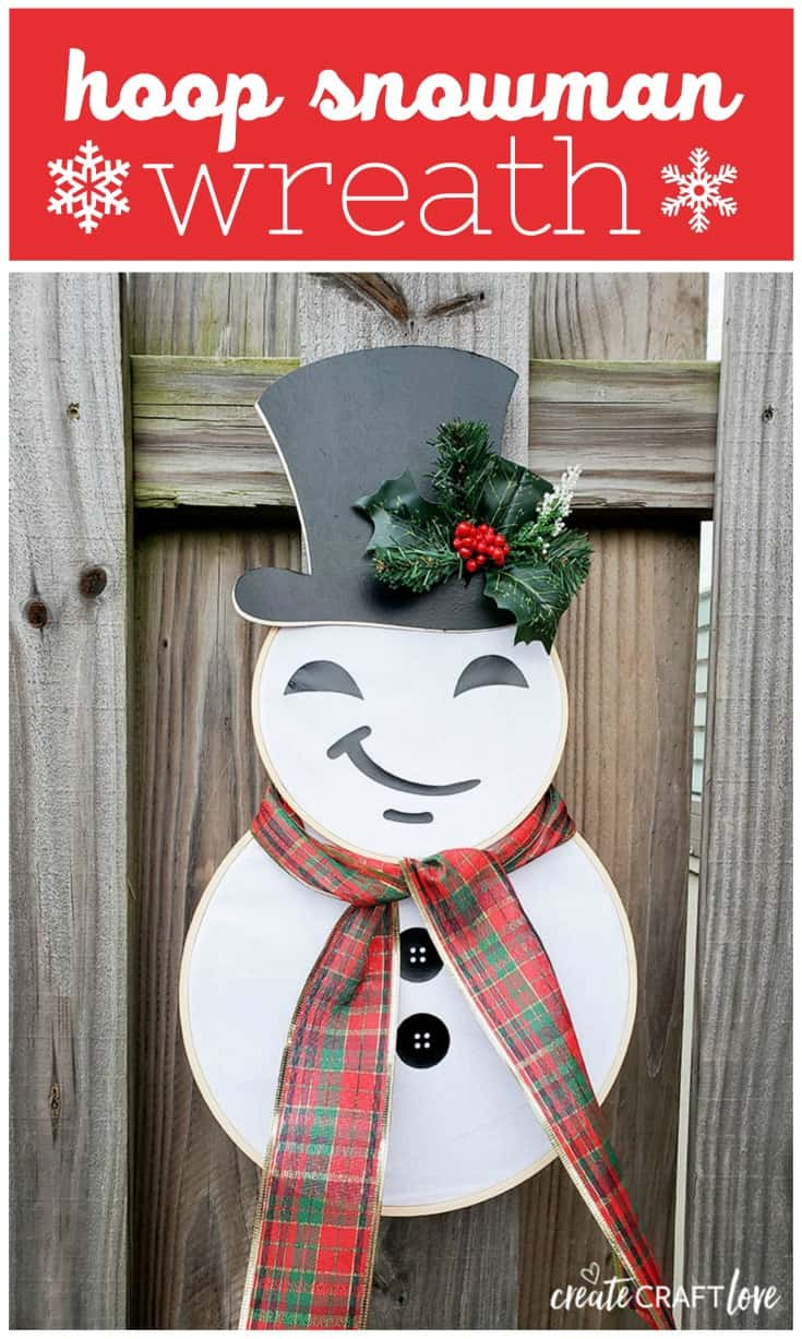 This adorable Hoop Snowman Wreath can be kept up even after Christmas is over!