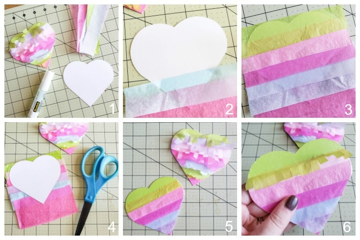 Creating the pinata look for these Mini Heart Pinatas