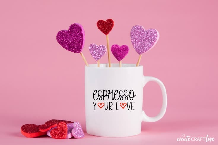 Create this cute Valentine Coffee Mug