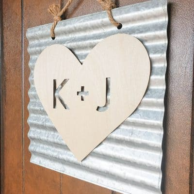 Wooden Heart Initials using Cricut Knife Blade
