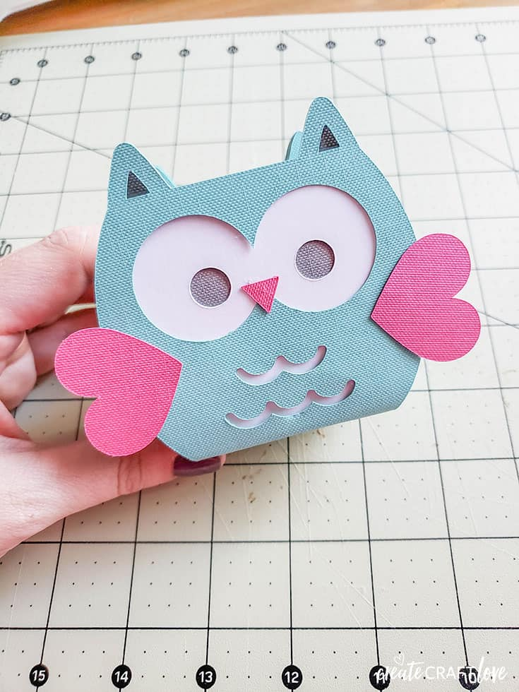 assembled owl valentine treat box