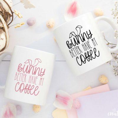 Easter Bunny Coffee Mug FREE SVG Cut File #createcraftlove #easter #freesvgfile #cricut #cricutmade #easterbunny #coffee