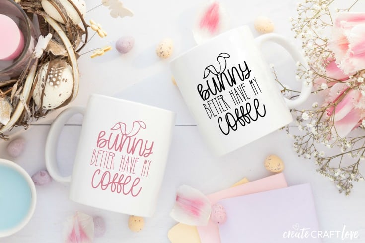 Easter Bunny Coffee Mug FREE SVG Cut File #createcraftlove #easter #freesvgfile #cricut #cricutmade #easterbunny #coffee