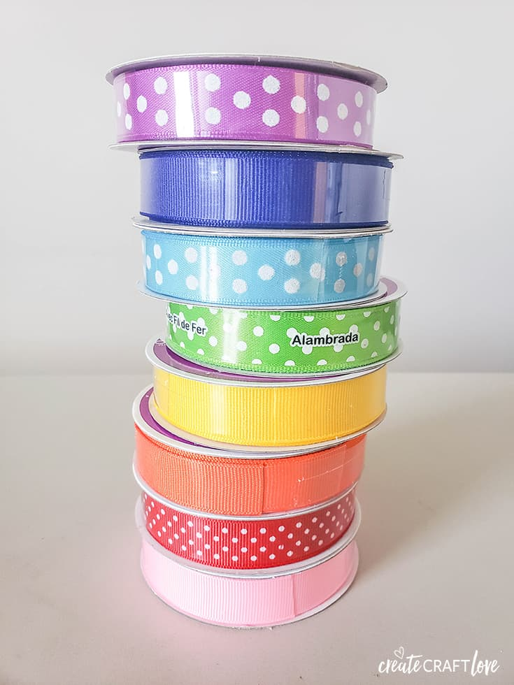 8 colors of ribbon for Rainbow Ribbon Wreath