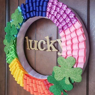 Rainbow Ribbon Wreath for St. Patrick's Day