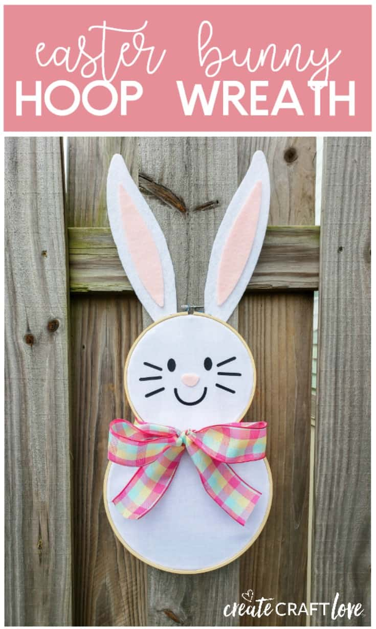 Greet your guests this spring with this adorable Easter Bunny Hoop Wreath! #createcraftlove #easter #hoopwreath #wreath #easterbunny