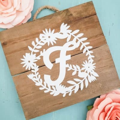 Floral Monogram Mini Sign
