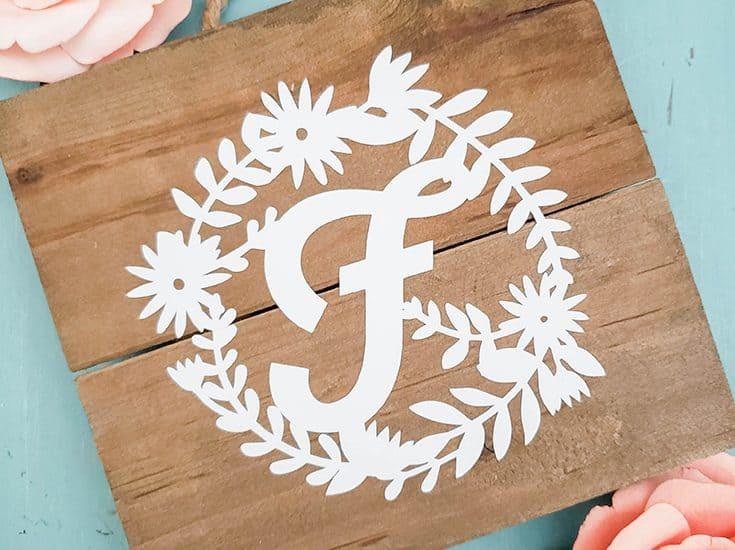 Floral Monogram Mini Sign