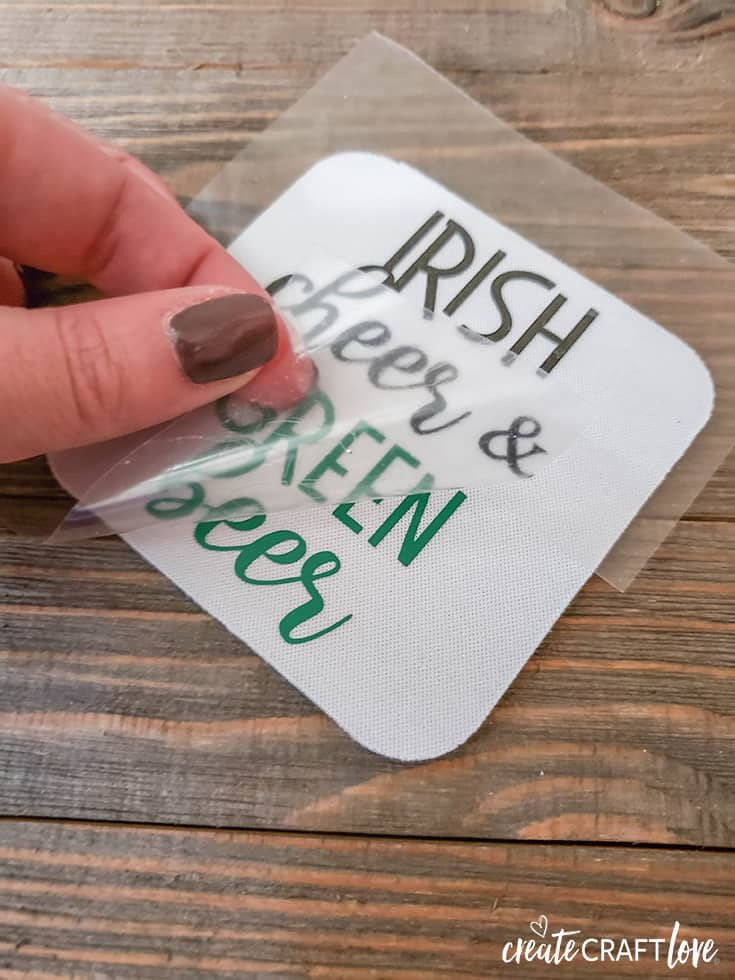 Peel away liner to reveal Irish Drinking Coasters