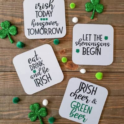Make these Irish Drinking Coasters for your St. Patrick's Day party! #createcraftlove #stpatricksday #drinkcoasters #irononvinyl #easypress2 #cricut #cricutmaker