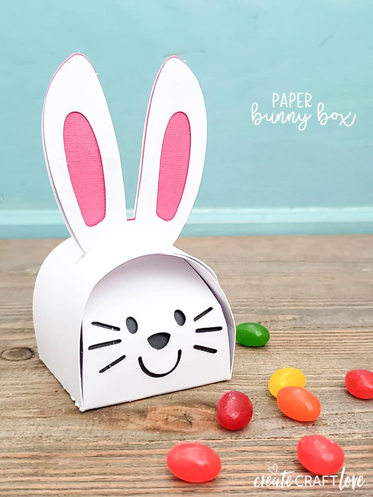 This Paper Bunny Box is a fun idea for the kiddos this Easter! #cricut #papercrafts #easter #easterbunny