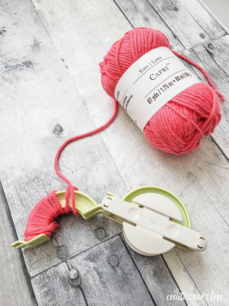 wrapping yarn for flamingo pom pom garland