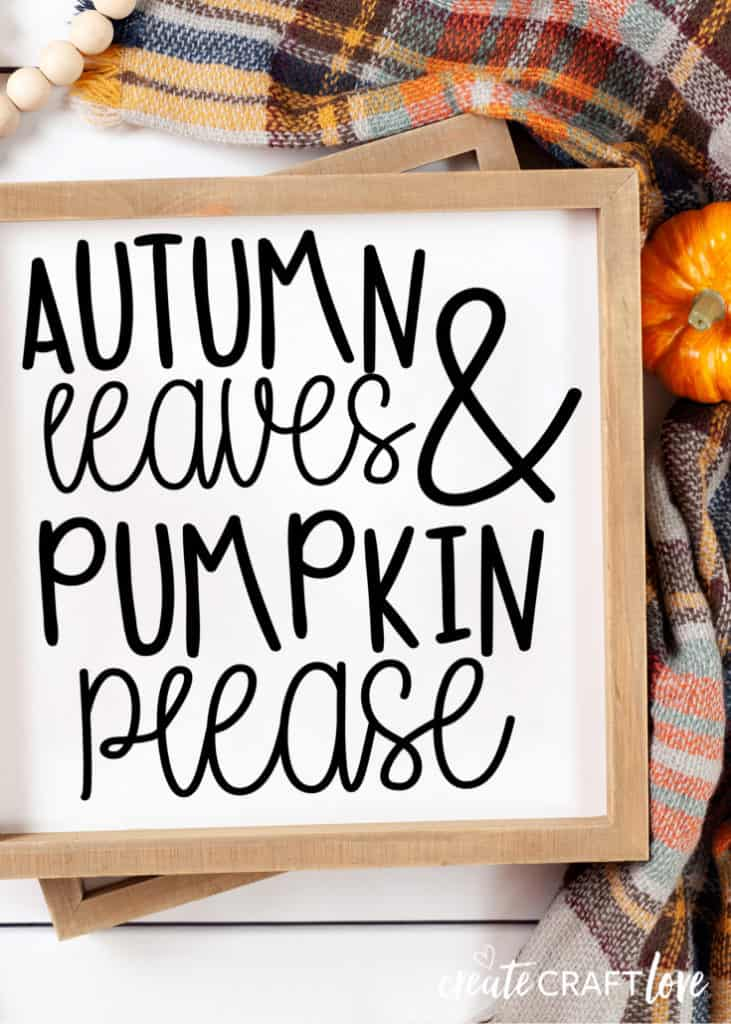 Autumn Leaves Fall Sign with Free SVG File #fall #falldecor #cricut #cricutmade