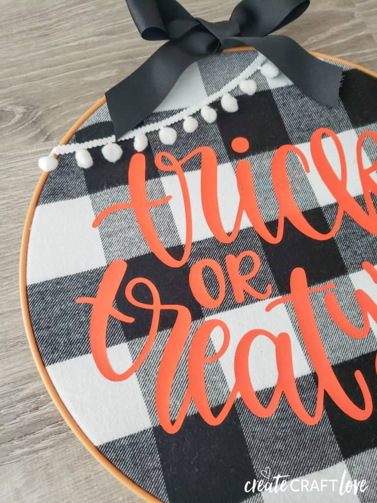 upclose embroidery hoop halloween wreath