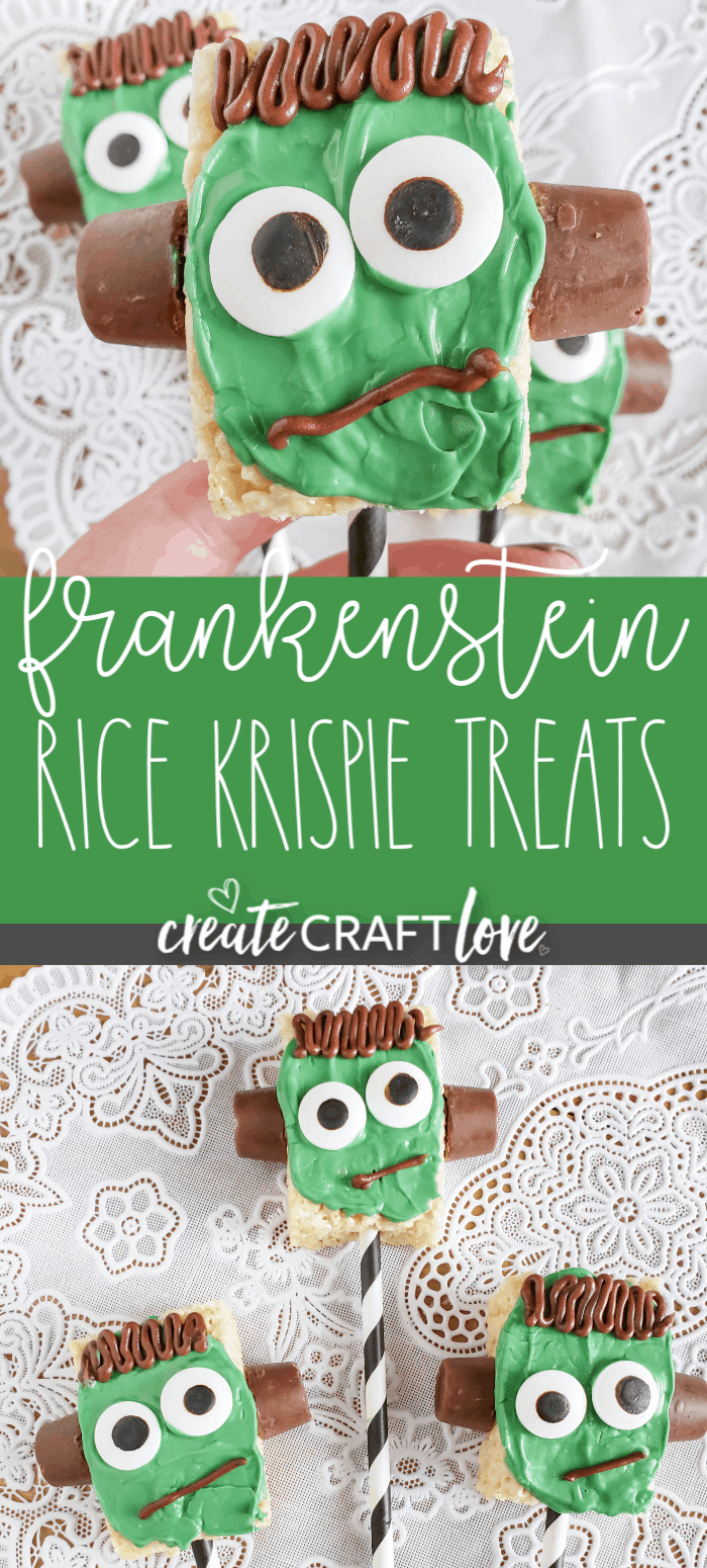 These Frankenstein Rice Krispie Treats are great for Halloween parties!  #halloween #halloweenrecipe