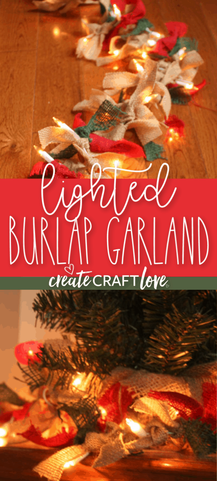 Lighted Burlap Garland For Christmas How To Createcraftlove