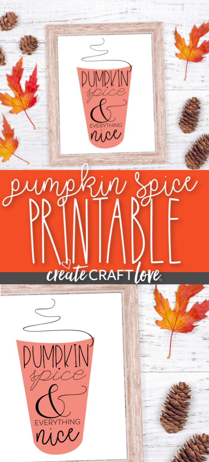 Cute Pumpkin Spice Printable to add to your fall decor! #fall #falldecor #fallprintables
