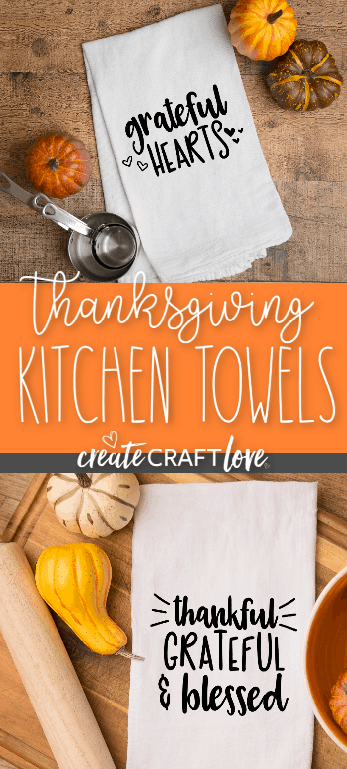 Dress up your kitchen this holiday with our Thanksgiving Kitchen Towels! #thanksgiving #thanksgivingcutfiles