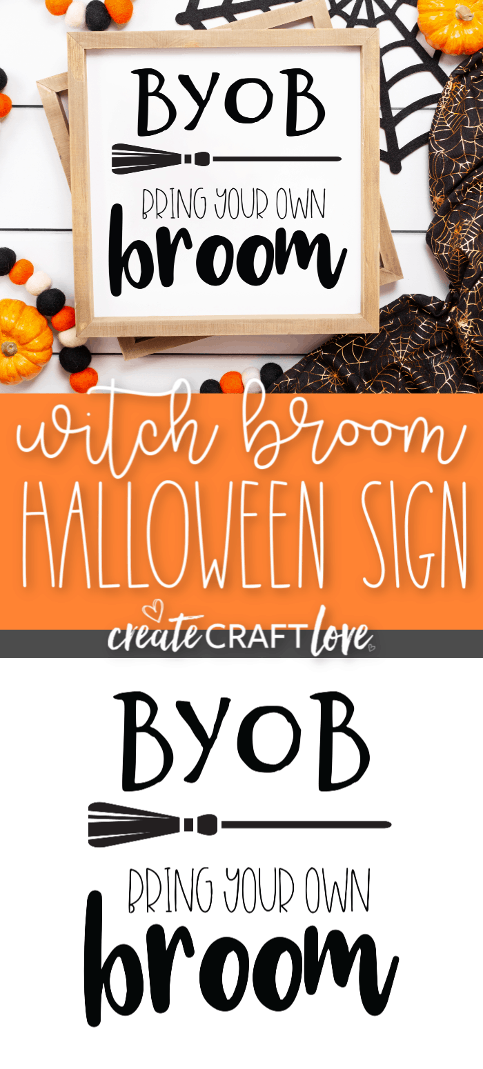 Add some humor to your Halloween decor with our Bring Your Own Broom Sign free cut file!