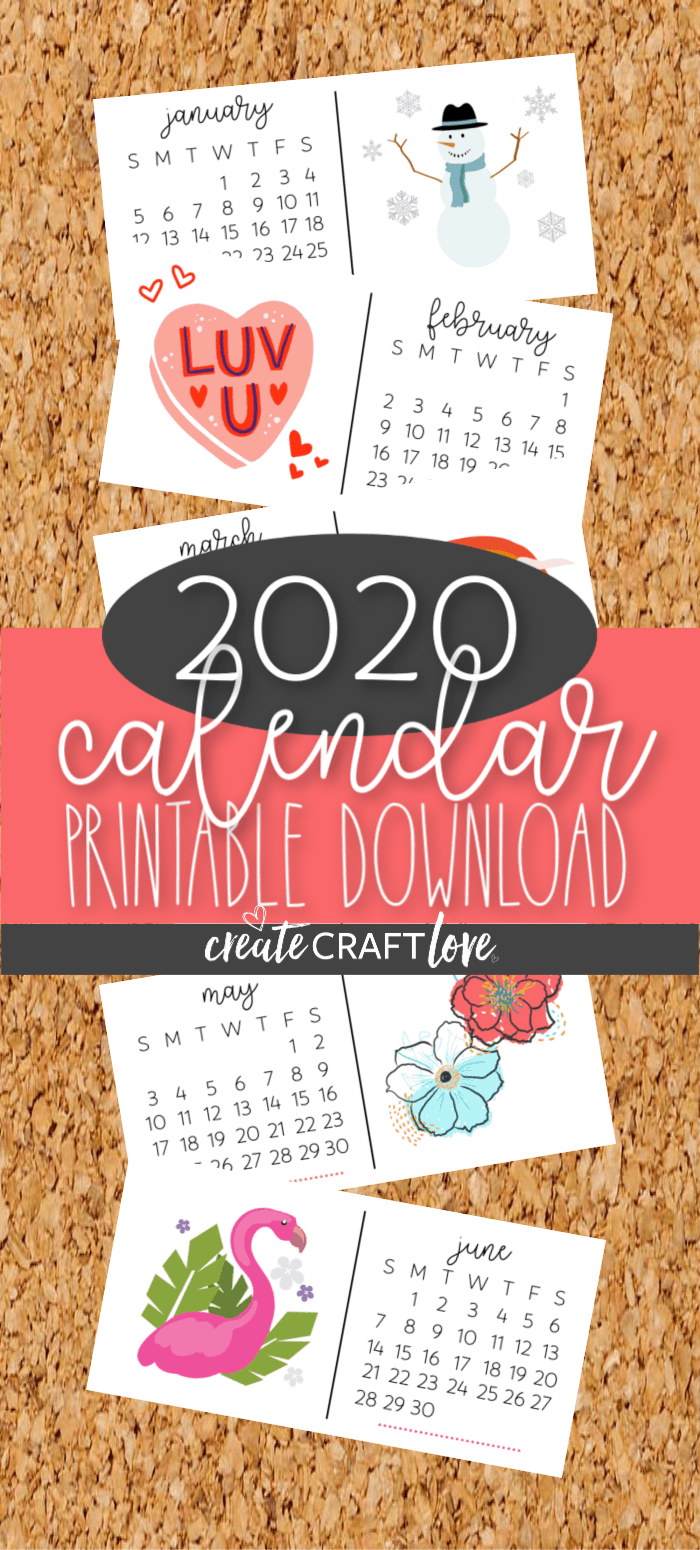 2020 calendar printable download