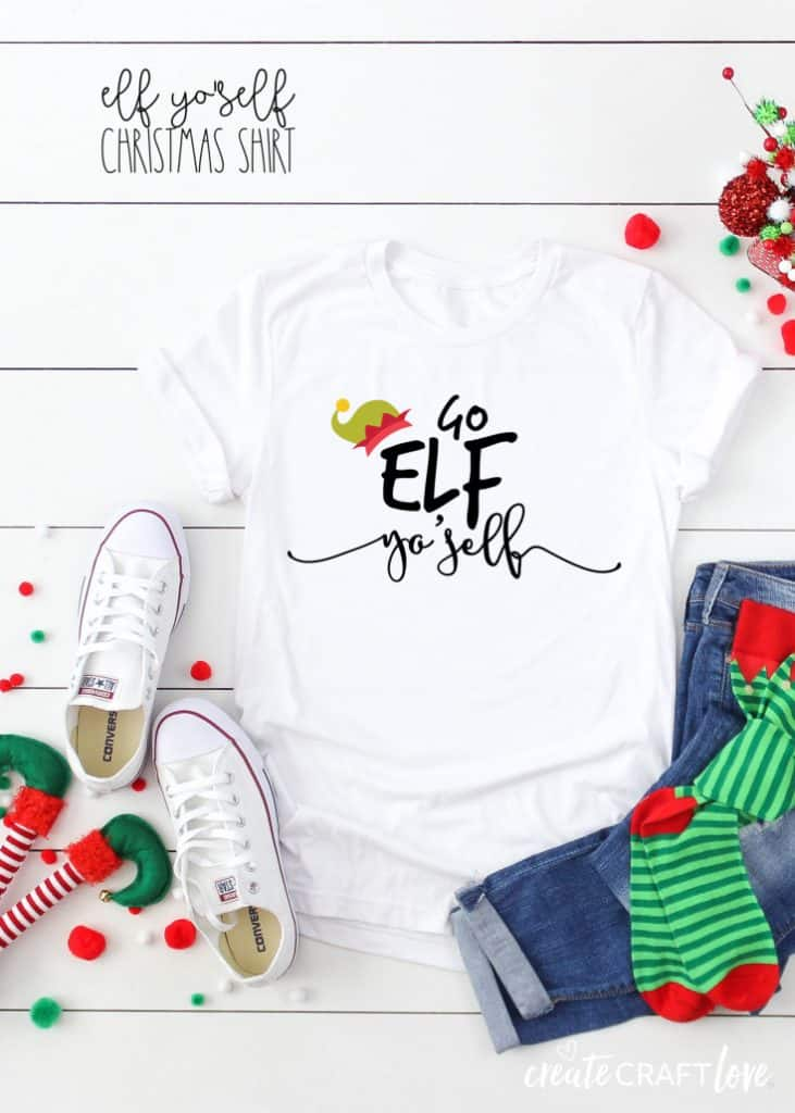 This Elf Yo'Self Christmas Shirt is just the kick in the pants some people need to get into the holiday spirit! #christmas #christmascutfiles #christmascrafts