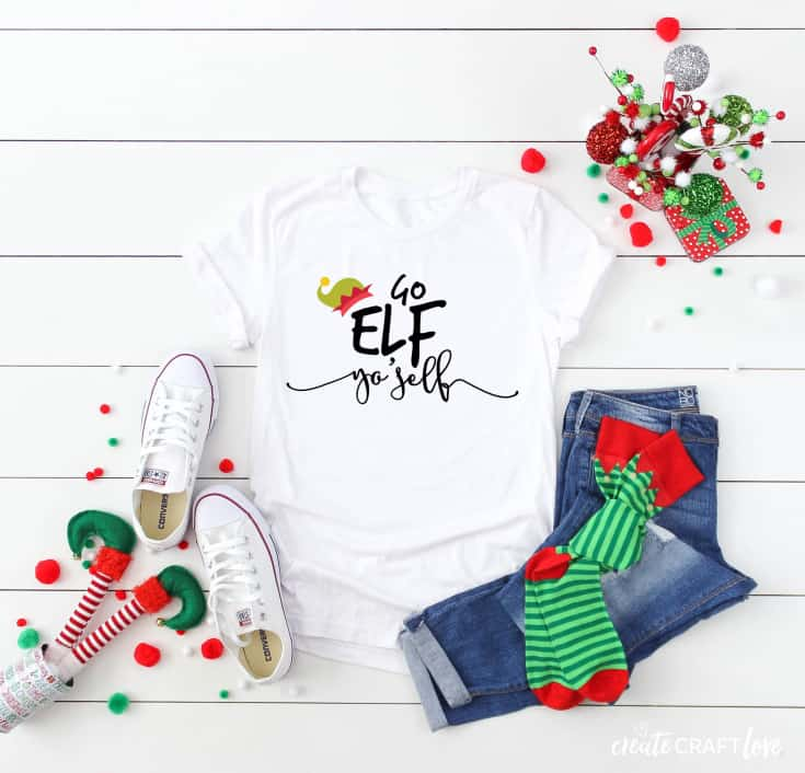 elf yo'self christmas shirt svg file